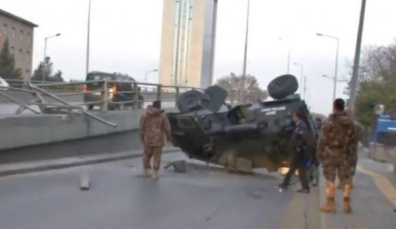 Ankara'da zırhlı araç köprüden düştü