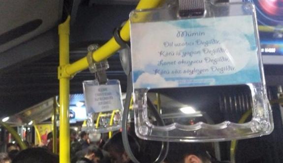 İETT otobüslerinde ayetli ve hadisli tutamak dönemi