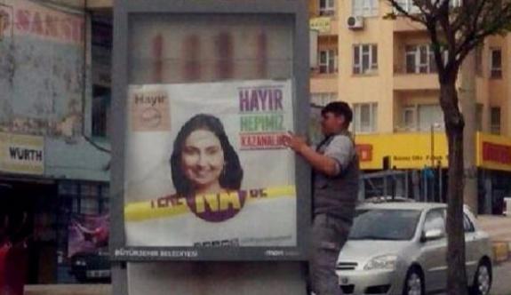HDP'li Yüksekdağ'ın yer aldığı afişler  toplatıldı!
