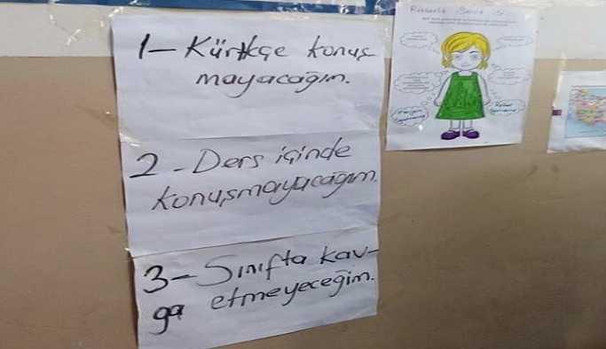 Şırnak'taki bir okulda sınıfa  'Kürtçe konuşmayacağım' yazısı asıldı