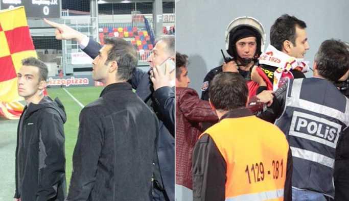 Göztepe-Beşiktaş maçında sahaya giren İzmir Emniyet Müdürü taraftarları gözaltına aldırdı