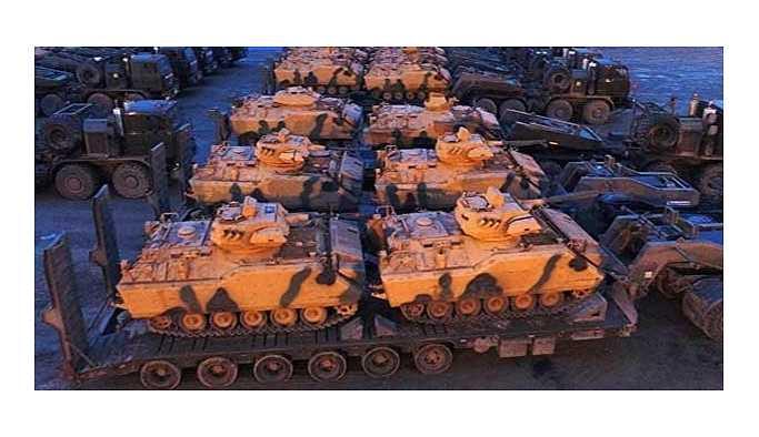 Hatay'a çok sayıda zırhlı araç ve tank takviyesi