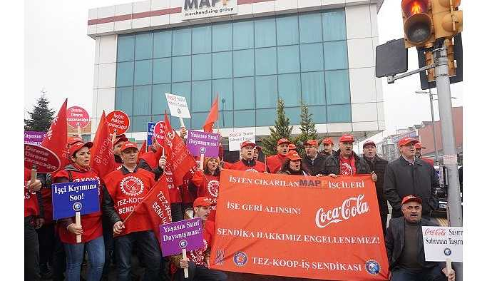 Sendikalaşan MAPP işçilerinden eylem