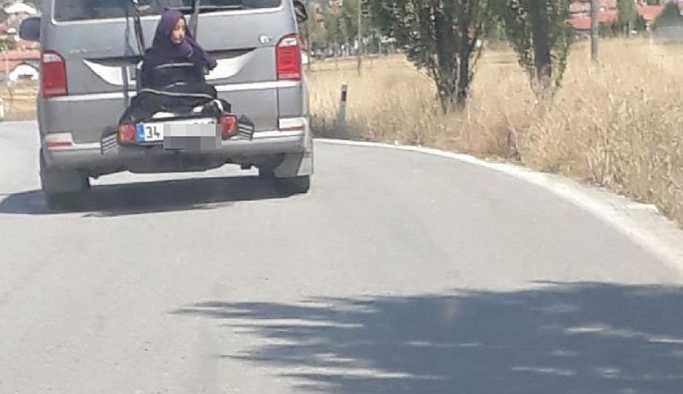 13 yaşında çocuğunu minibüsün arkasına bağlayan babaya gözaltı