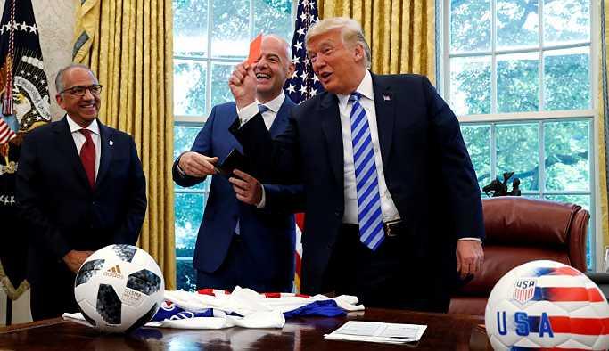 FIFA Başkanı Infantino'yu Beyaz Saray'da ağırlayan Trump'tan medyaya kırmızı kart