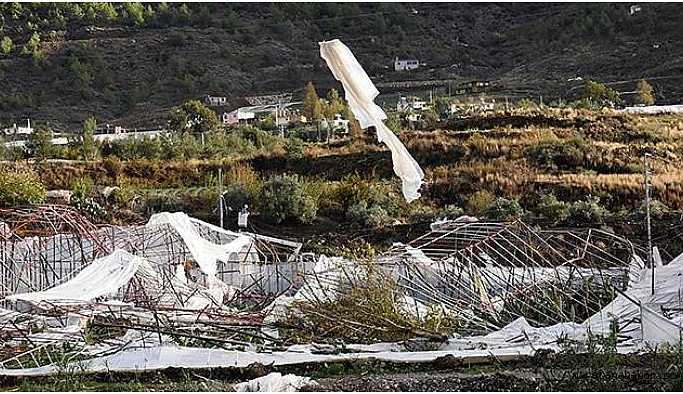 Mersin'de hortum seraları vurdu