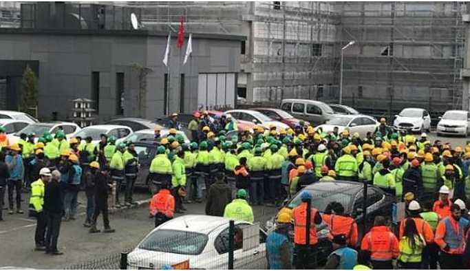 Hastane inşaatında eylem yapan işçiler: Hak verilmez alınır