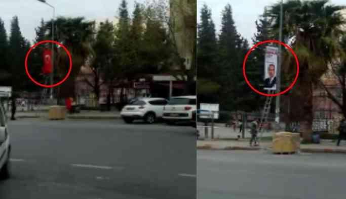 Türkiye bayrağını indirip yerine AKP afişi astılar