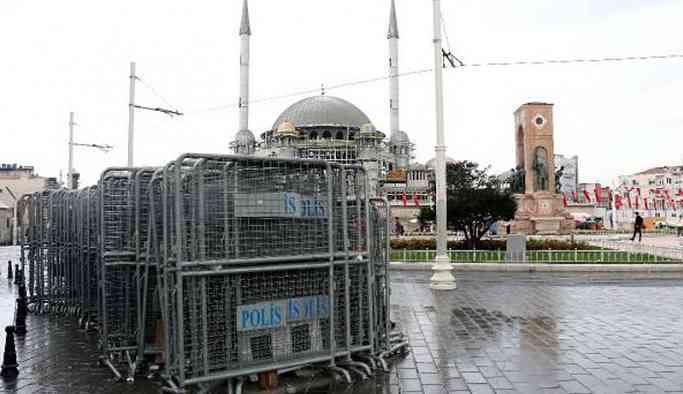 1 Mayıs öncesi Taksim'e bariyerler yığıldı