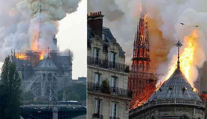 Notre Dame Katedrali'nde yangın: Bir kulesi çöktü