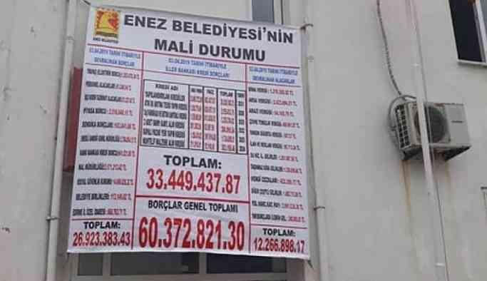 AKP'li belediye başkanı, Enez Belediyesi'ne 60 milyon lira borç bıraktı