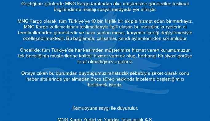 """MNG Kargo'dan """"HDP PKK"""" açıklaması"""