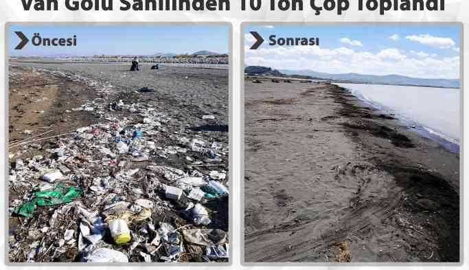 Van Gölü kıyısında 10 ton çöp toplandı