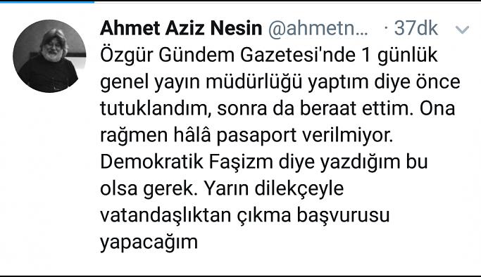 Ahmet Nesin vatandaşlıktan çıkacağını duyurdu