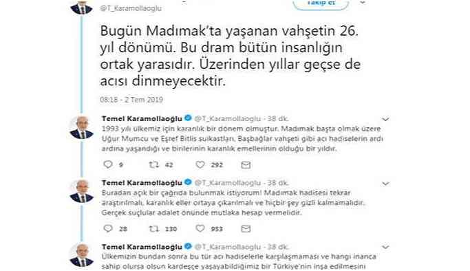 Karamollaoğlu'dan 'Madımak' paylaşımları