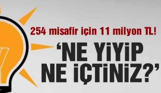 AKP'li belediye 254 misafir için 11 milyon harcamış