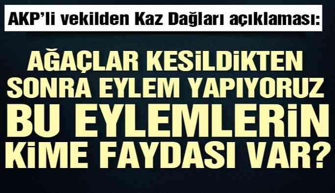 AKP'li vekilden Kaz Dağları açıklaması: Ağaçlar kesildikten sonra eylem yapıyoruz, bu eylemlerin kime faydası var?