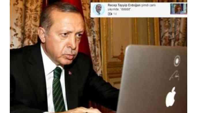 """Erdoğan'ın hesabından tuhaf canlı yayın! """"ddddd"""" başlığı ile yayına girildi!"""