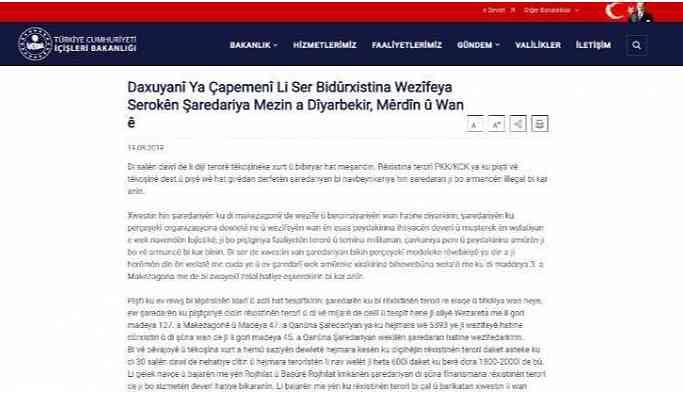 İçişleri Bakanlığı'dan Kürtçe kayyum açıklaması