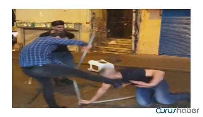 Taksim karıştı: Demir çubuklar ve sandalyeler havada uçuştu