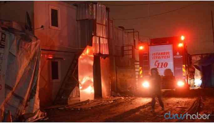 İnşaat konteynerinde yangın...Arkadaşlarını kurtaran işçi yaşamını yitirdi