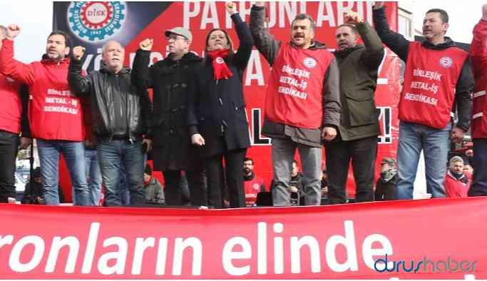Binlerce metal işçisinden miting! Şubat'ta genel grev kararı!