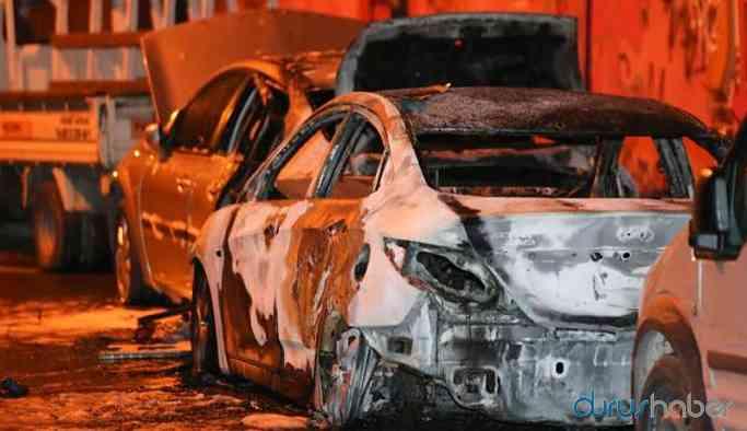 18 aracın önce lastikleri kesildi, sonra ateşe verildi