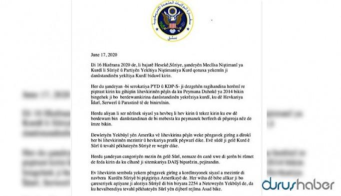 Kürtler arasındaki anlaşma ABD'nin Suriye Büyükelçiliği'nin hesabından Kürtçe paylaşıldı