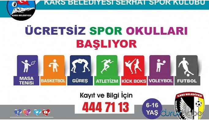 Kars Belediyesi'nden gençlere spor okulu