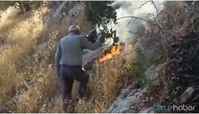 Eruh'ta çıkan yangına müdahale eden köylüler engellendi