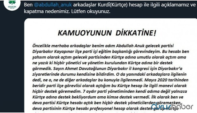 Gelecek Partisi'nde Kürtçe krizi