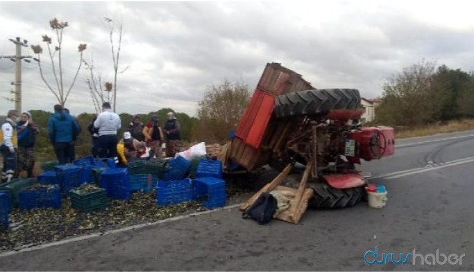 Traktörün devrilmesiyle 4 tarım işçisi yaralandı