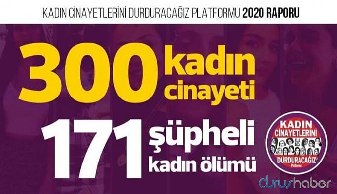 Kadın Cinayetleri 2020 Raporu: 300 kadın erkekler tarafından öldürüldü