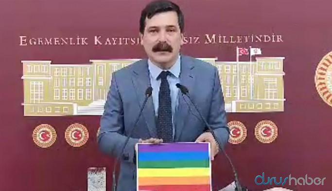 TİP Genel Başkanı Erkan Baş'a gönderilen gökkuşağı bayrağına Meclis girişinde el konuldu