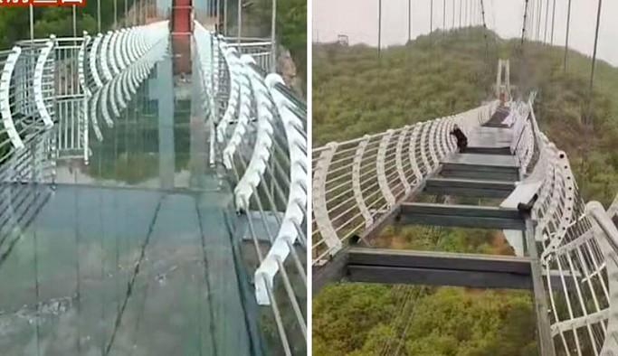 Çin'de asma köprünün cam zemini kırıldı: Bir turist mahsur kaldı