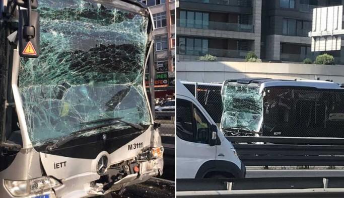Metrobüs kaza yaptı: Yaralılar var