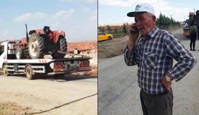Haciz ile çiftçinin tarlada çalışan traktörüne el koydular: Bir donumuz kaldı satılmadık