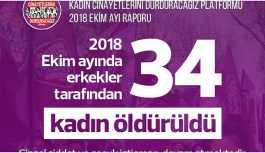 'Ekim ayında 34 kadın öldürüldü'