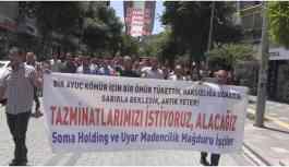 Soma faciasında sağ kurtulan işçiler tazminatları için yürüdü